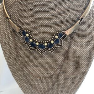 Blue and yellow stone collar necklace